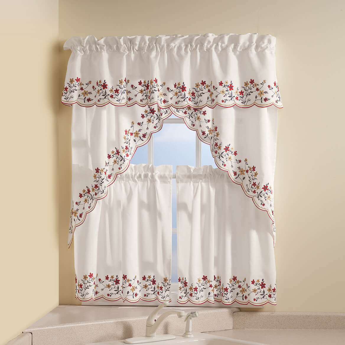 Floral Embroidered Insert Valance-363333