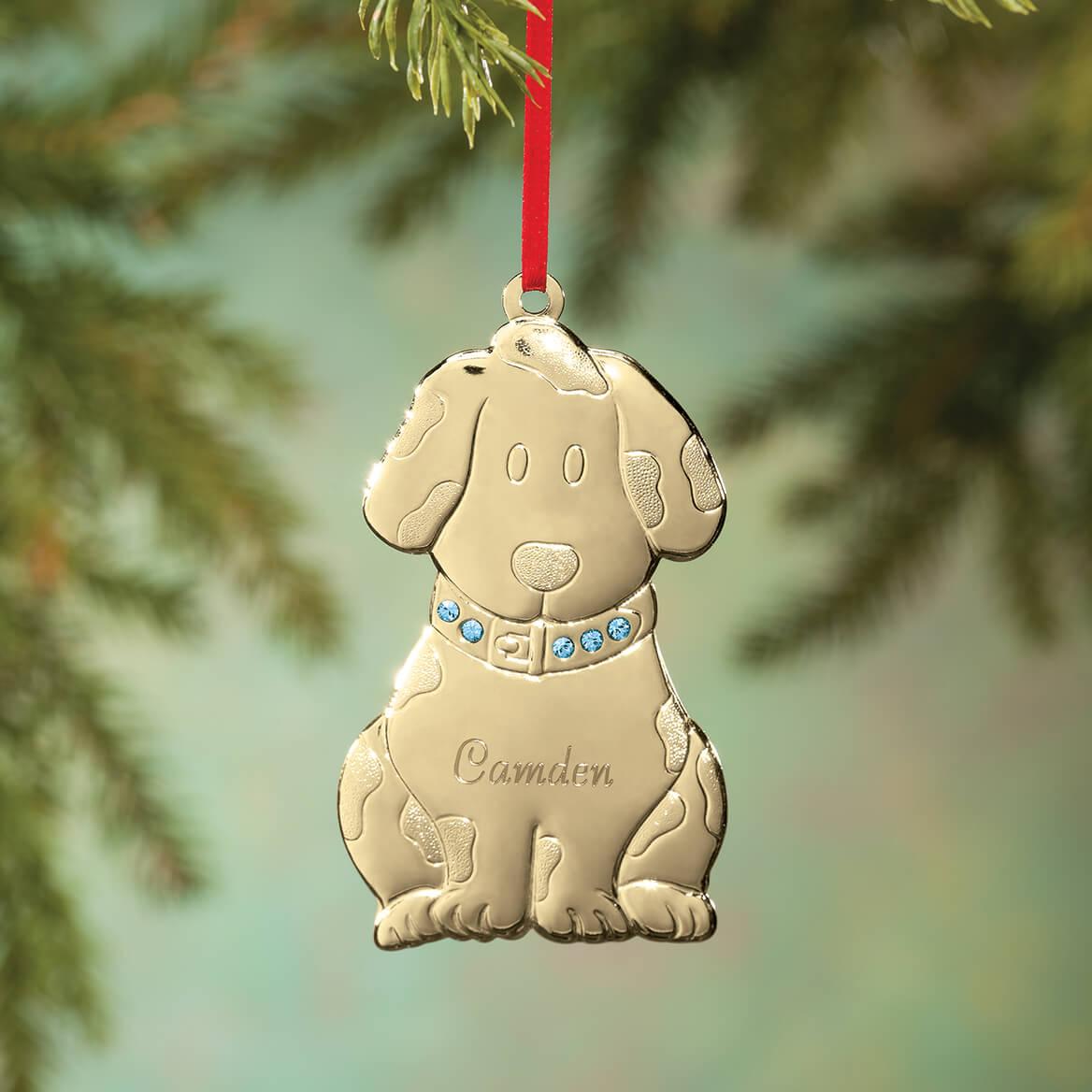 Personalized Brass Birthstone Dog Ornament-363529