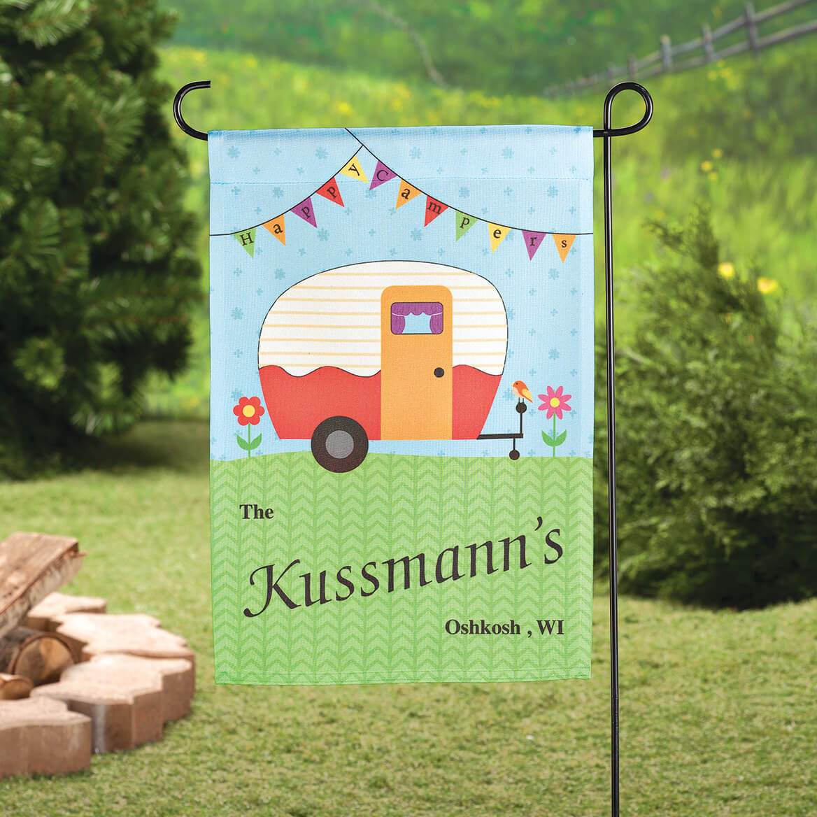 Personalized Happy Campers Garden Flag-363617