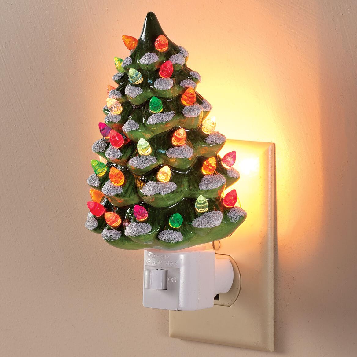 Green Snow Capped Ceramic Tree Night Light