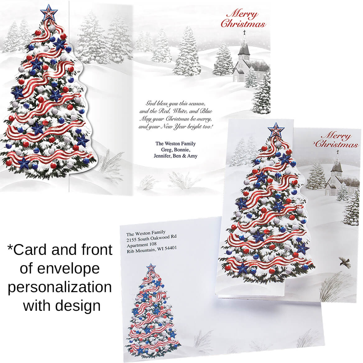Patriotic Tree Personalized Christmas Cards