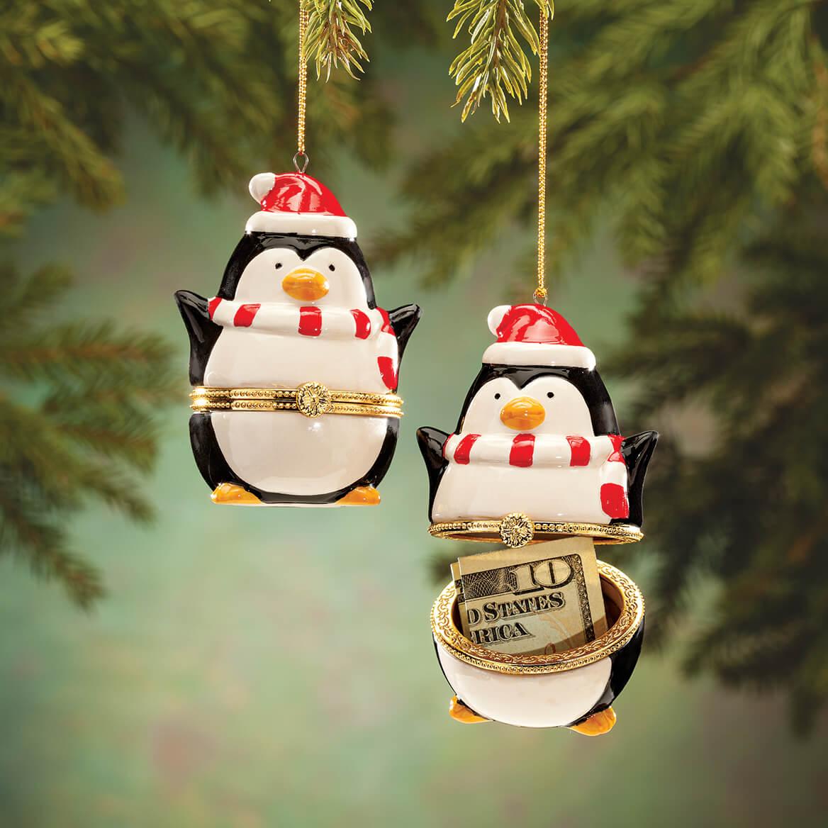 Holiday Penguin Heirloom Trinket Box Hanging Christmas