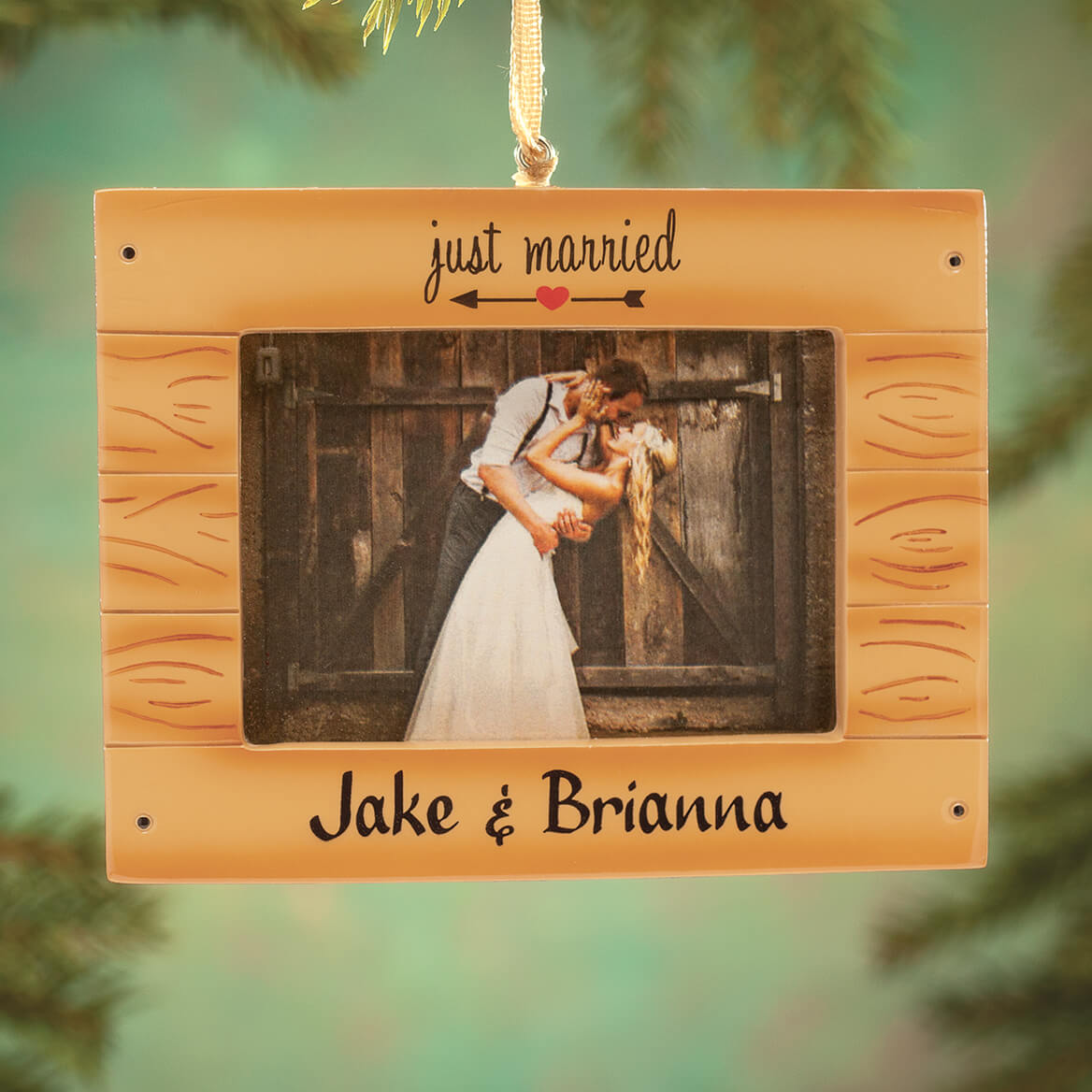 """Personalized """"Just Married"""" Rustic Frame Ornament-364413"""