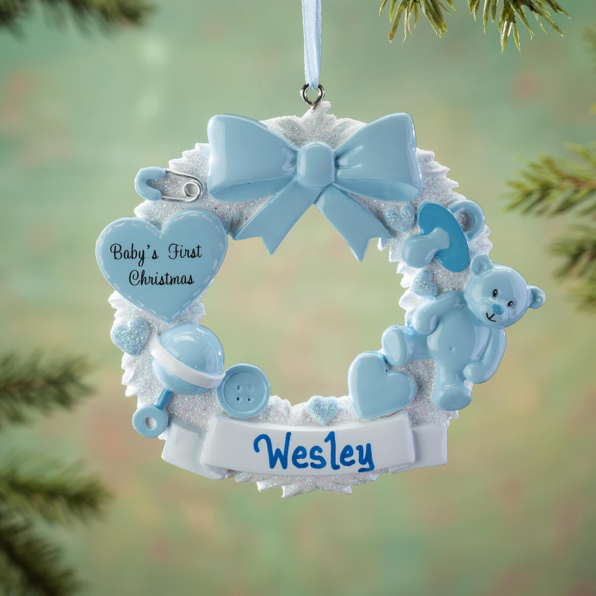 Personalized Babys First Christmas Wreath Ornament Miles Kimball