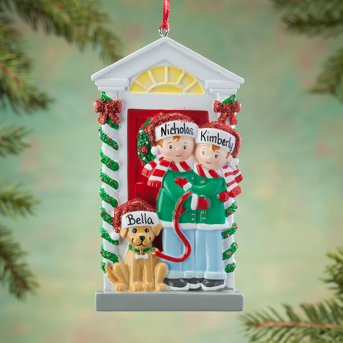 personalized family and dog ornament 364886