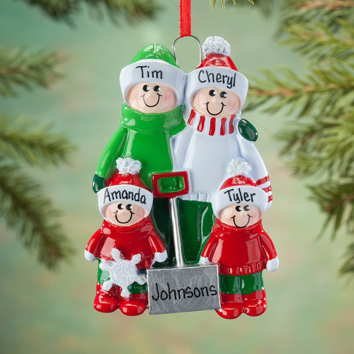 Personalized Shoveling Family Ornament-364888
