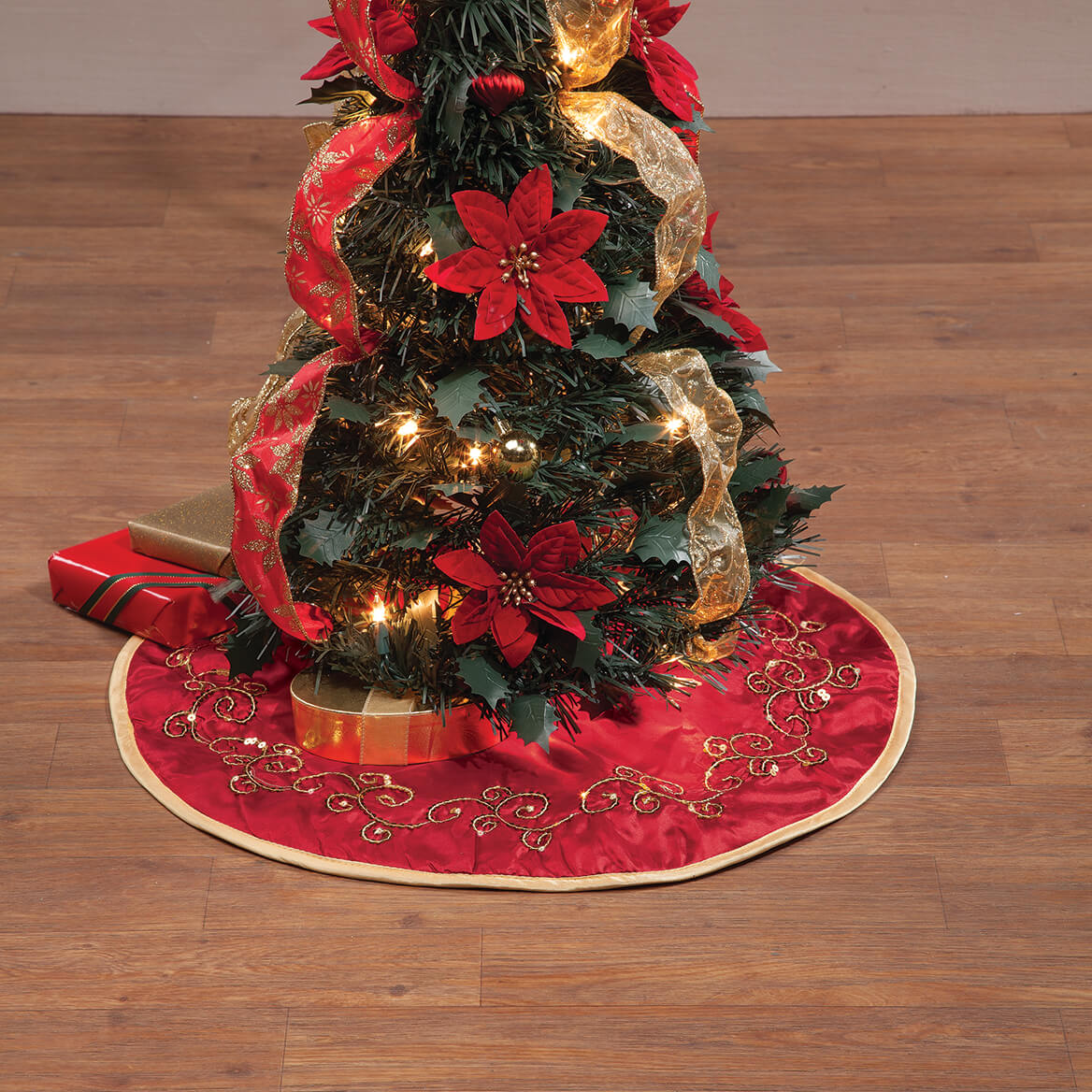Red And Gold Christmas Trees: Red And Gold Glittered Tree Skirt