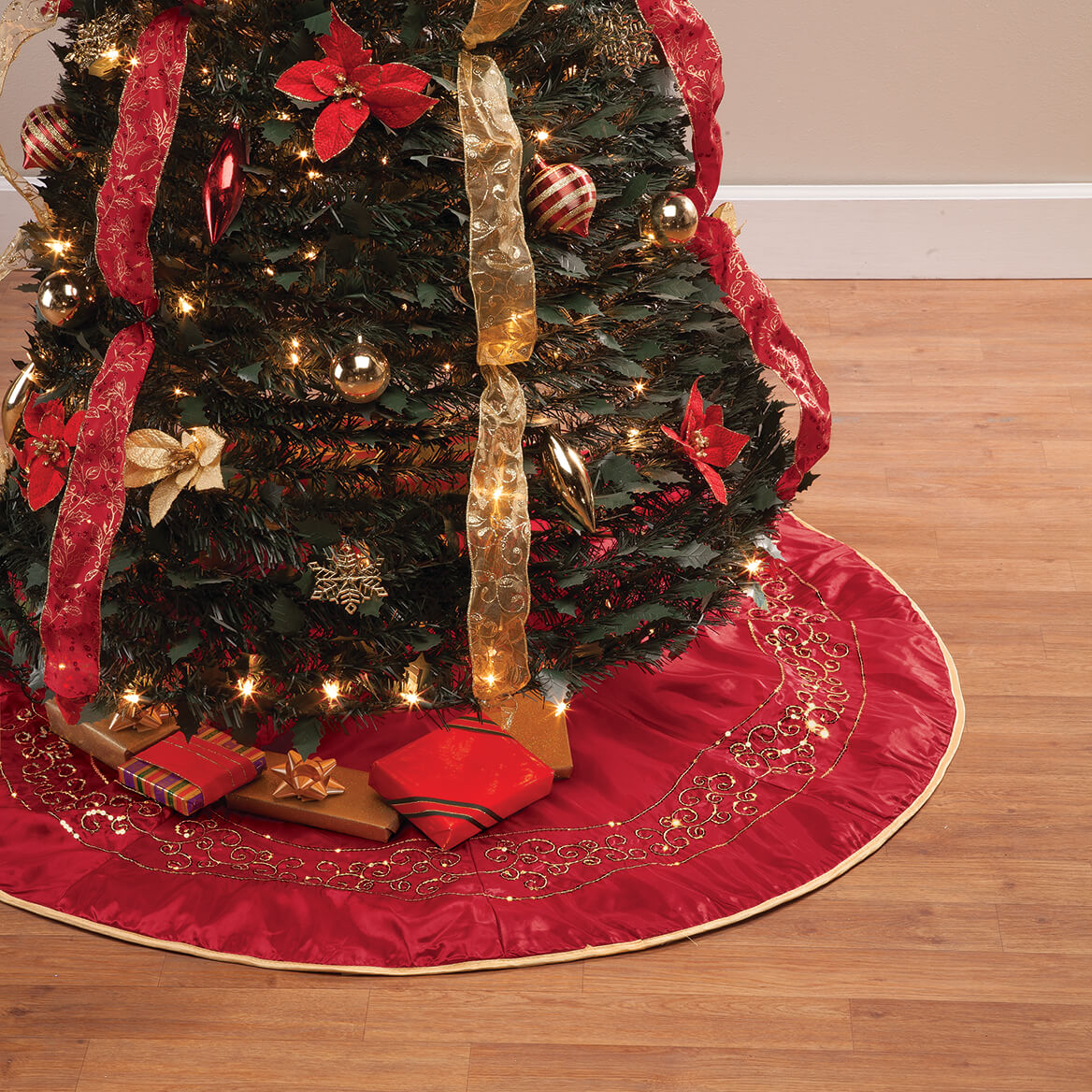 Red and Gold Glittered Tree Skirt by Holiday Peak™-365038
