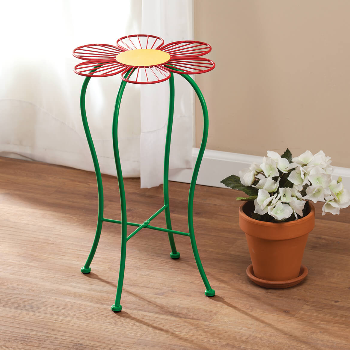 Folding Red Flower Plant Stand