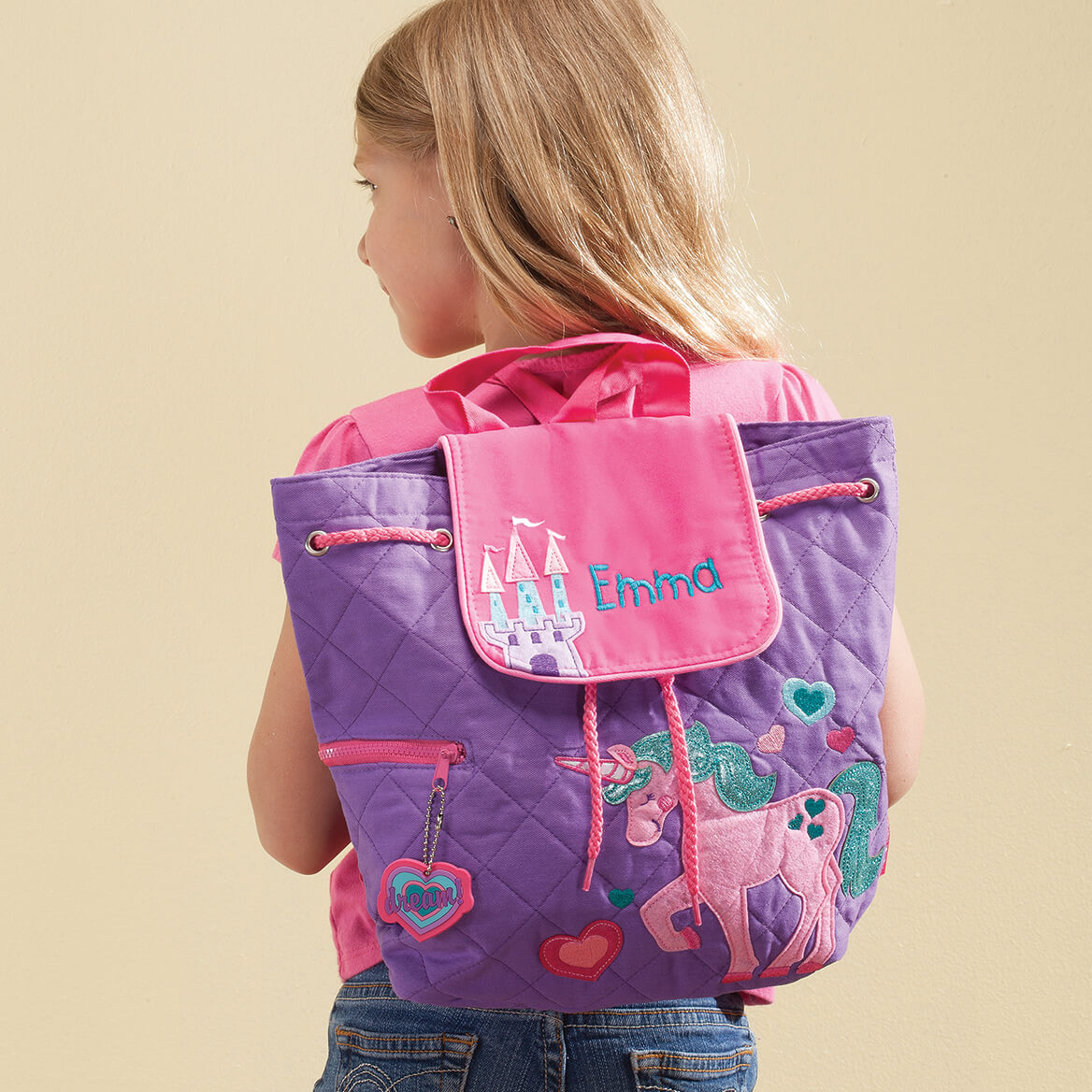 Personalized Girls Going To Grandmas Tote Childrens Miles Kimball Emma Blue Print Stephen Joseph Unicorn Quilted Backpack 365388