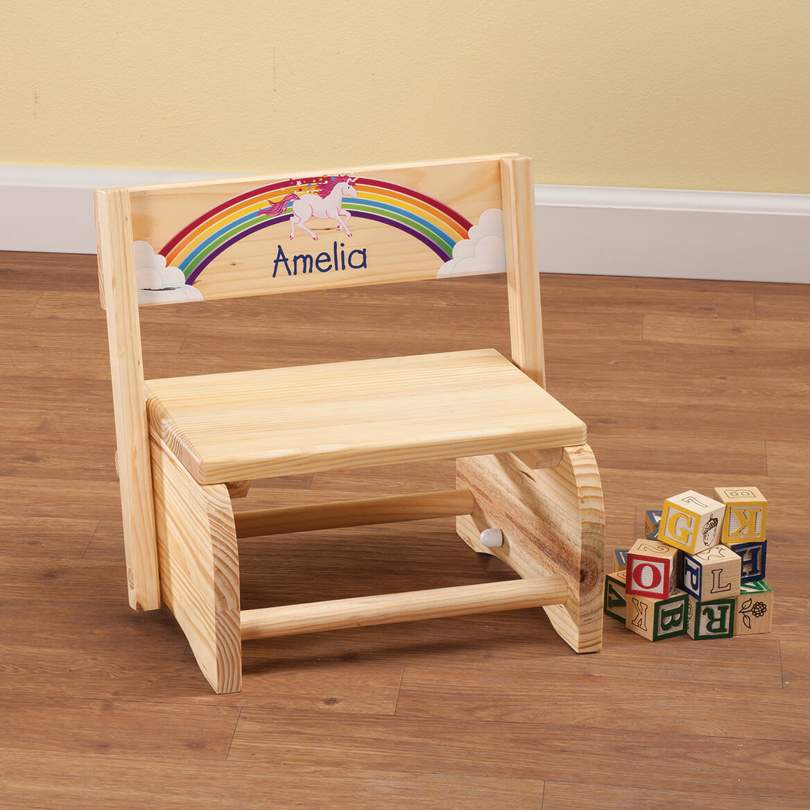 Personalized Children's Unicorn Step Stool-365595