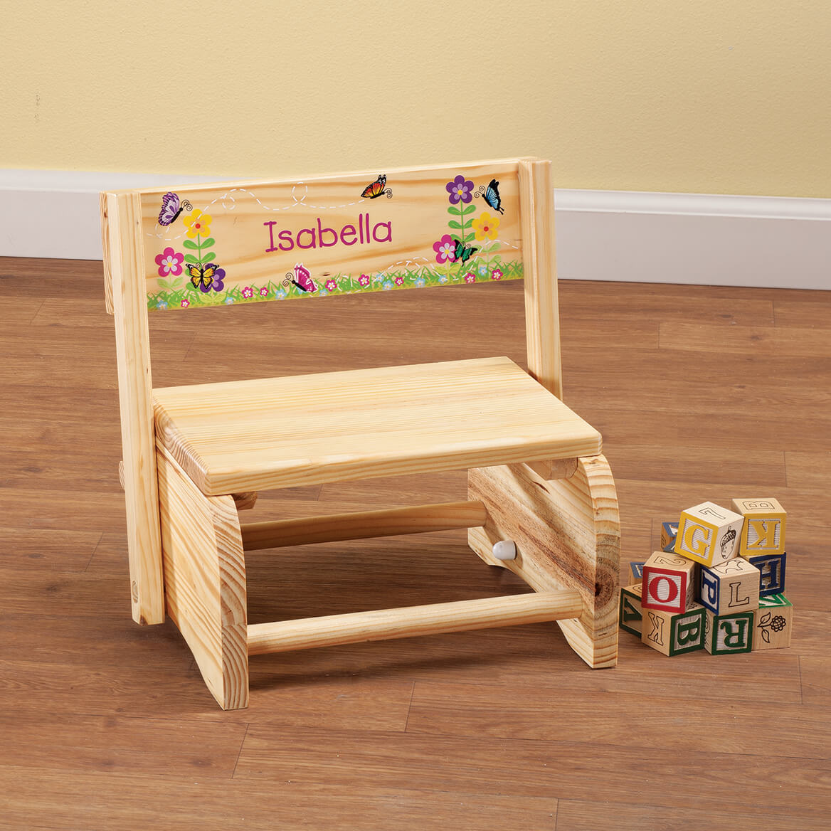 Personalized Children's Butterflies & Flowers Step Stool-365667