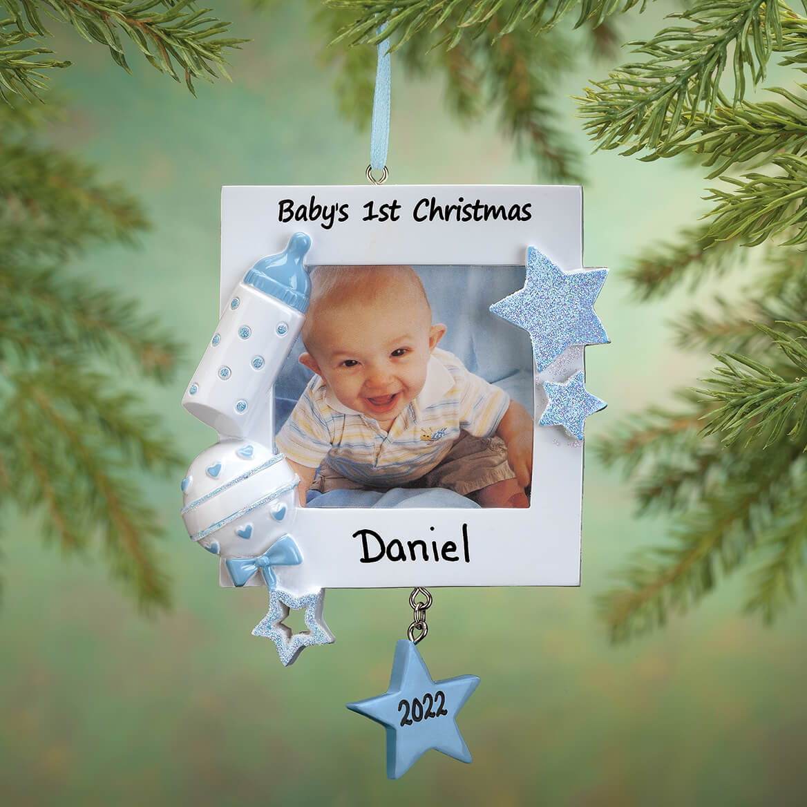 Personalized Baby S First Christmas Frame Ornament Miles