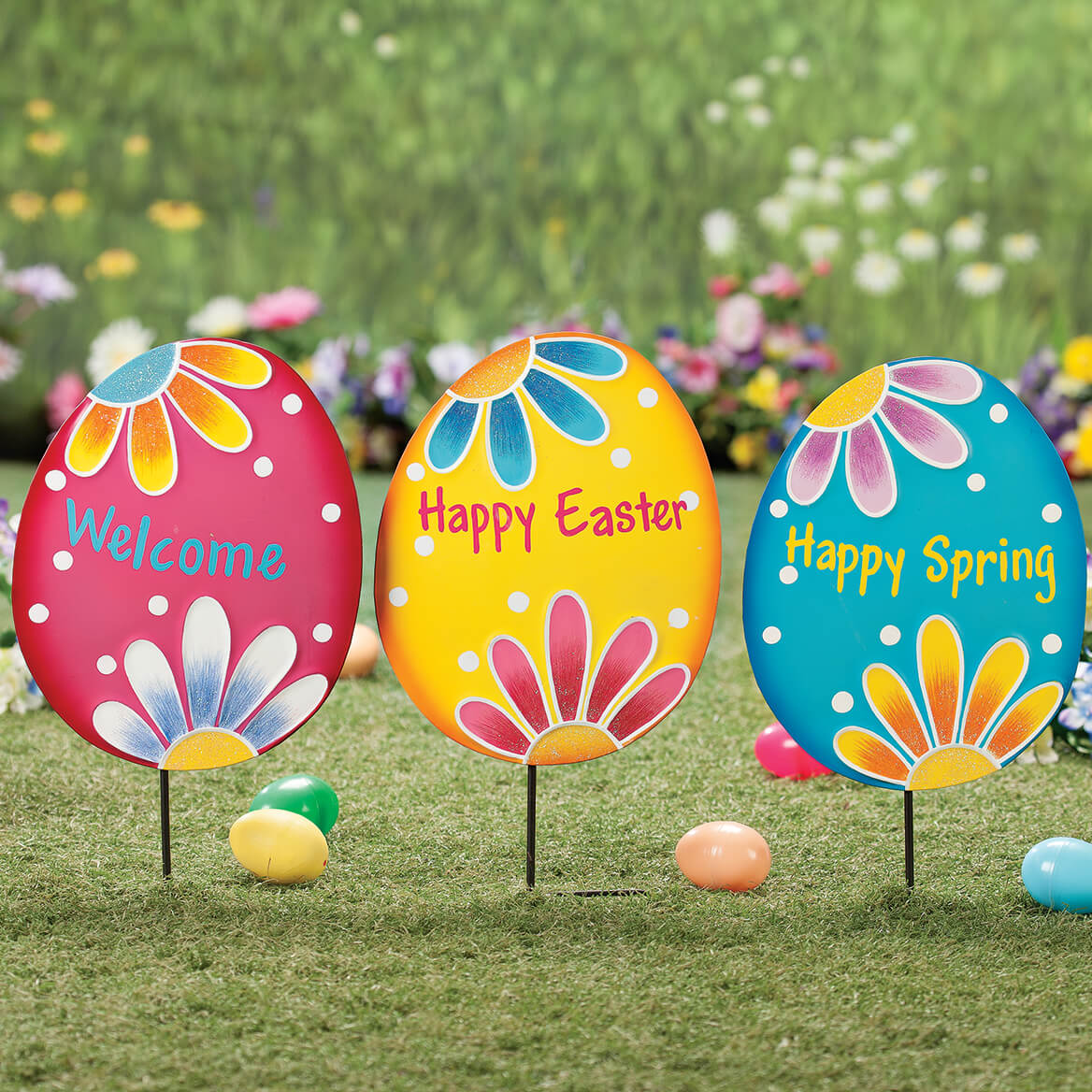 Metal Easter Egg Stakes Set of 3 by Fox River Creations™-365863