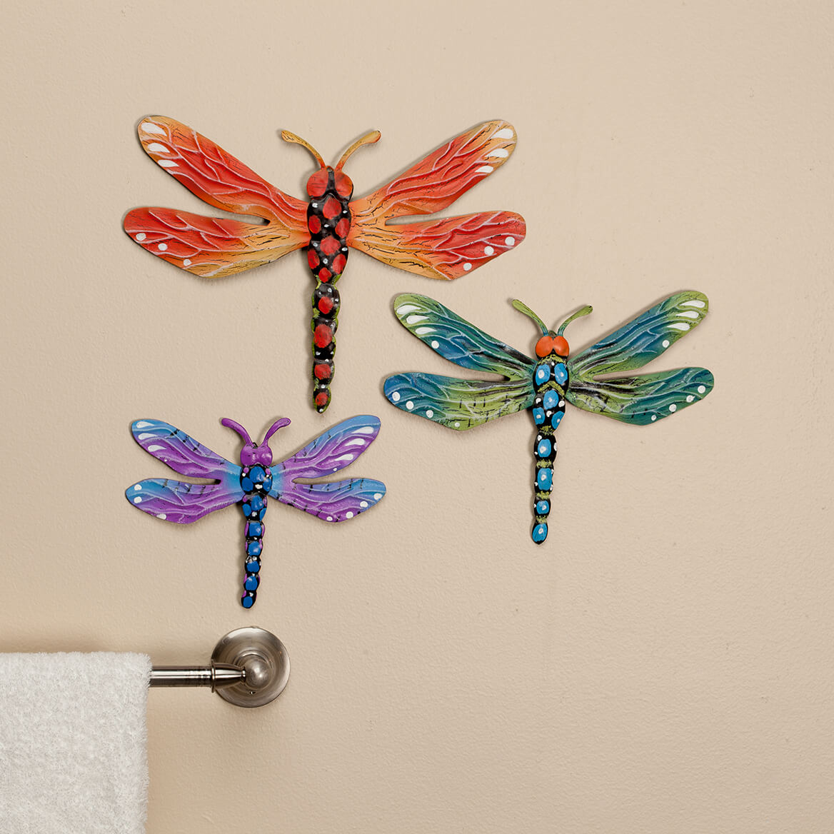 Metal Dragonfly Plaques Set of 3 by Fox River Creations™-365866