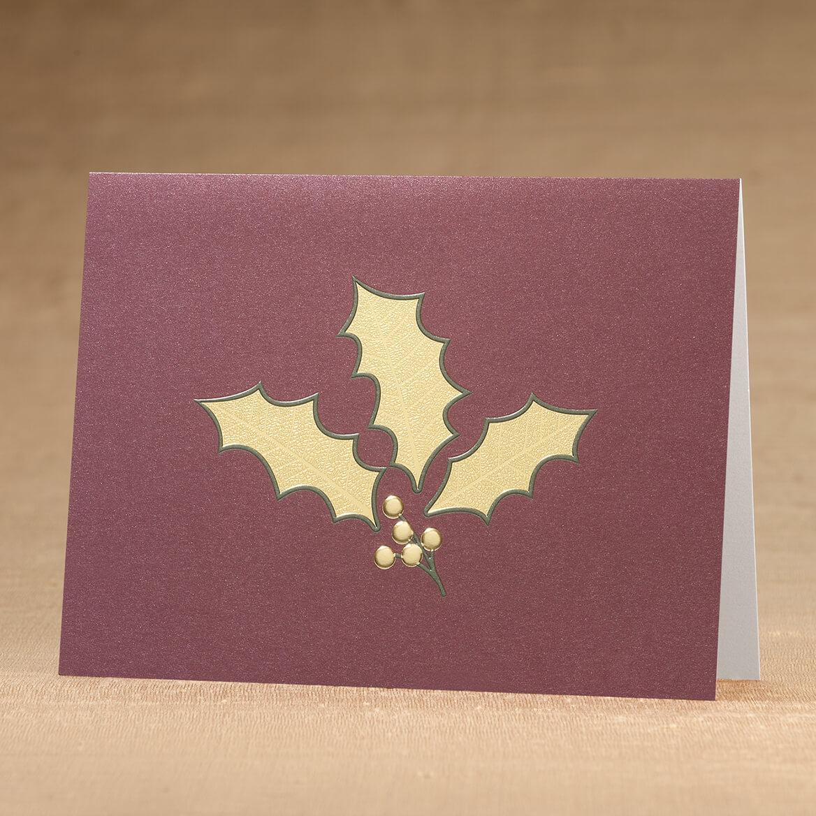 Holly Leaf Christmas Card Set of 18-366424