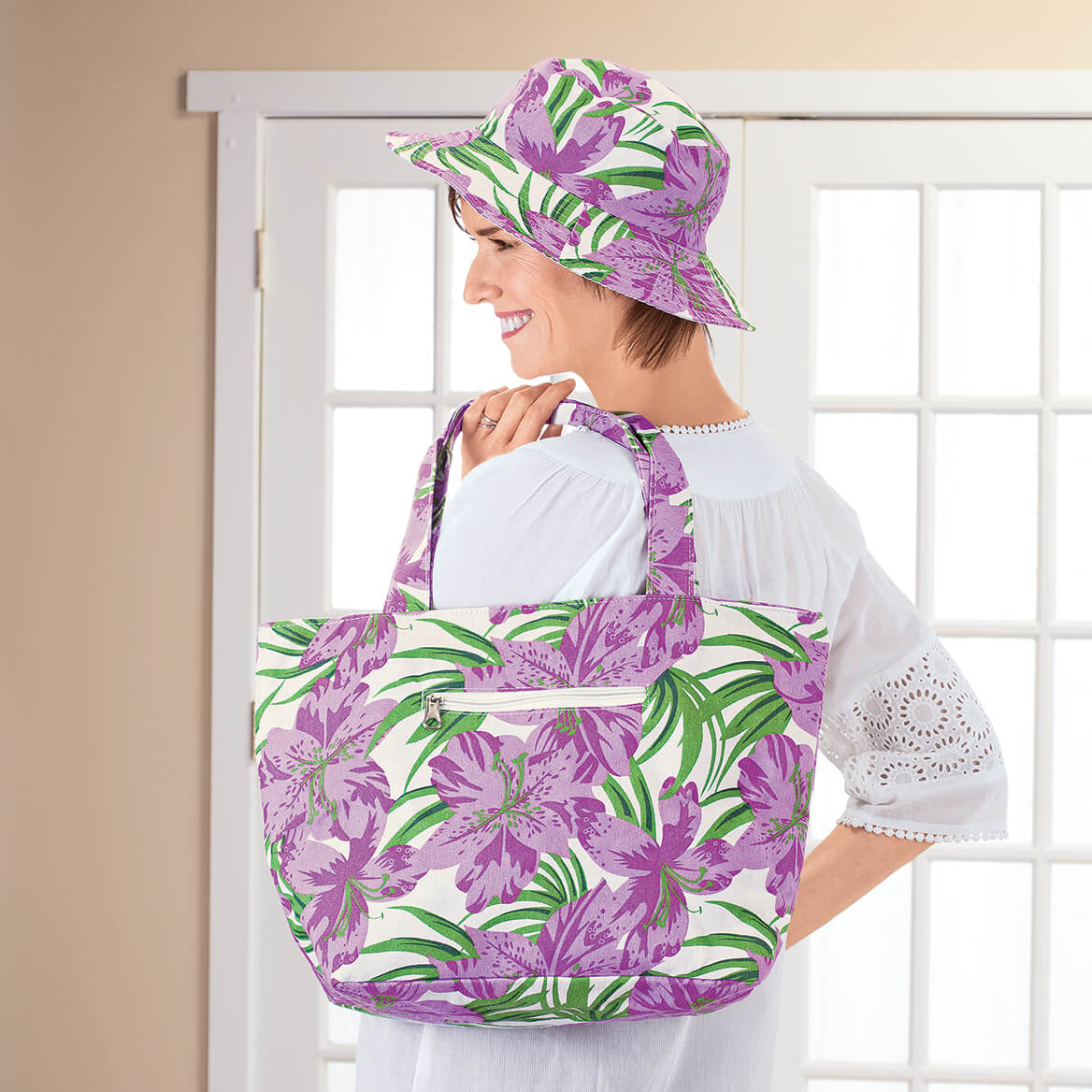 Purple Hibiscus Tote Coin Purse and Hat Set-366771