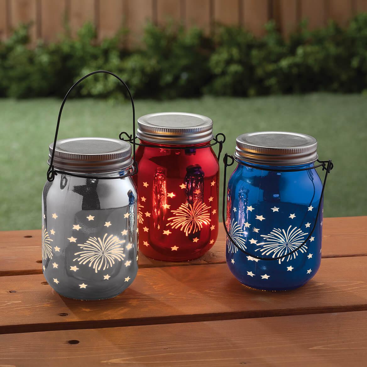 Red, White & Blue Fairy Light Firework Jars, Set of 3-367355
