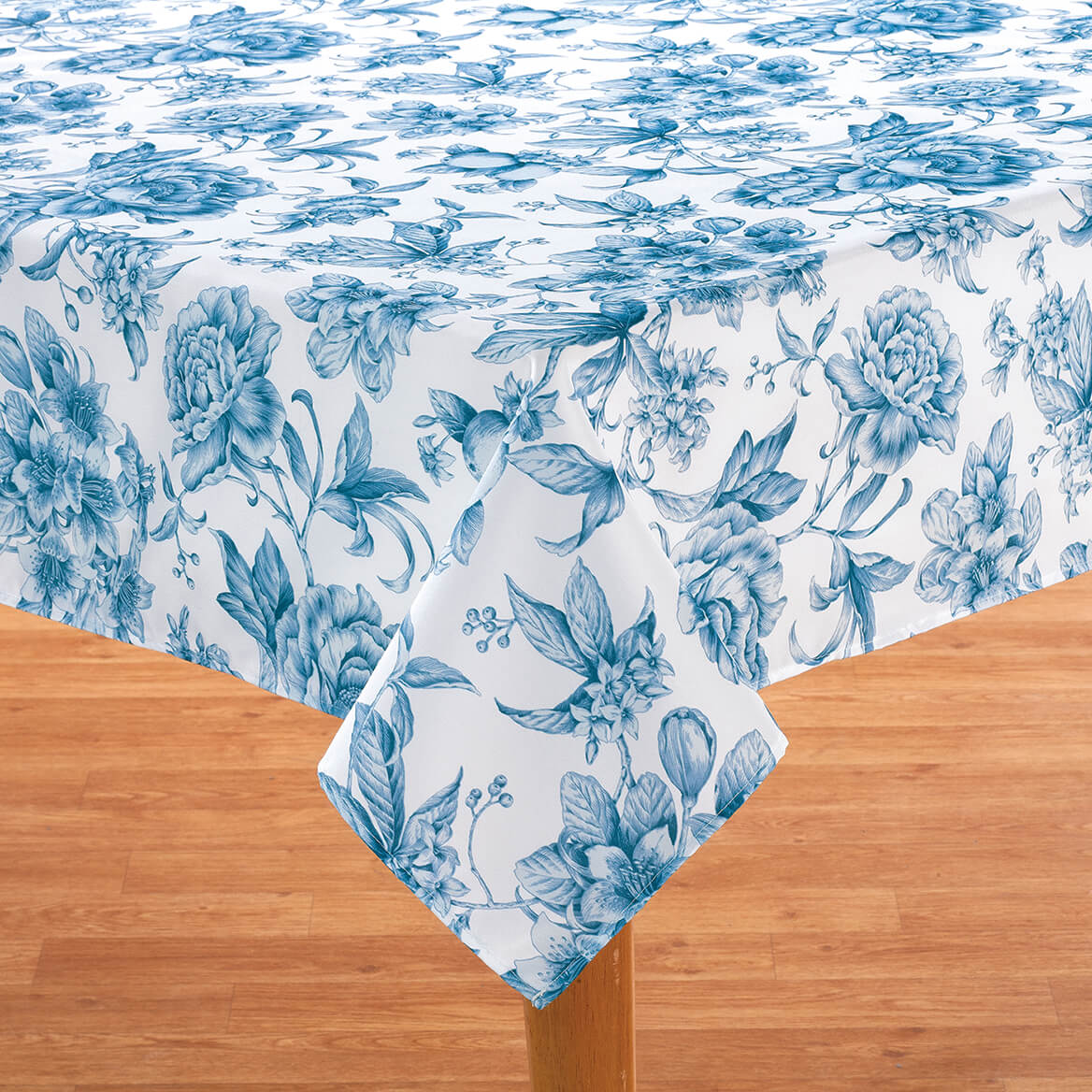 William Roberts Blue Floral Toile Tablecloth-367566