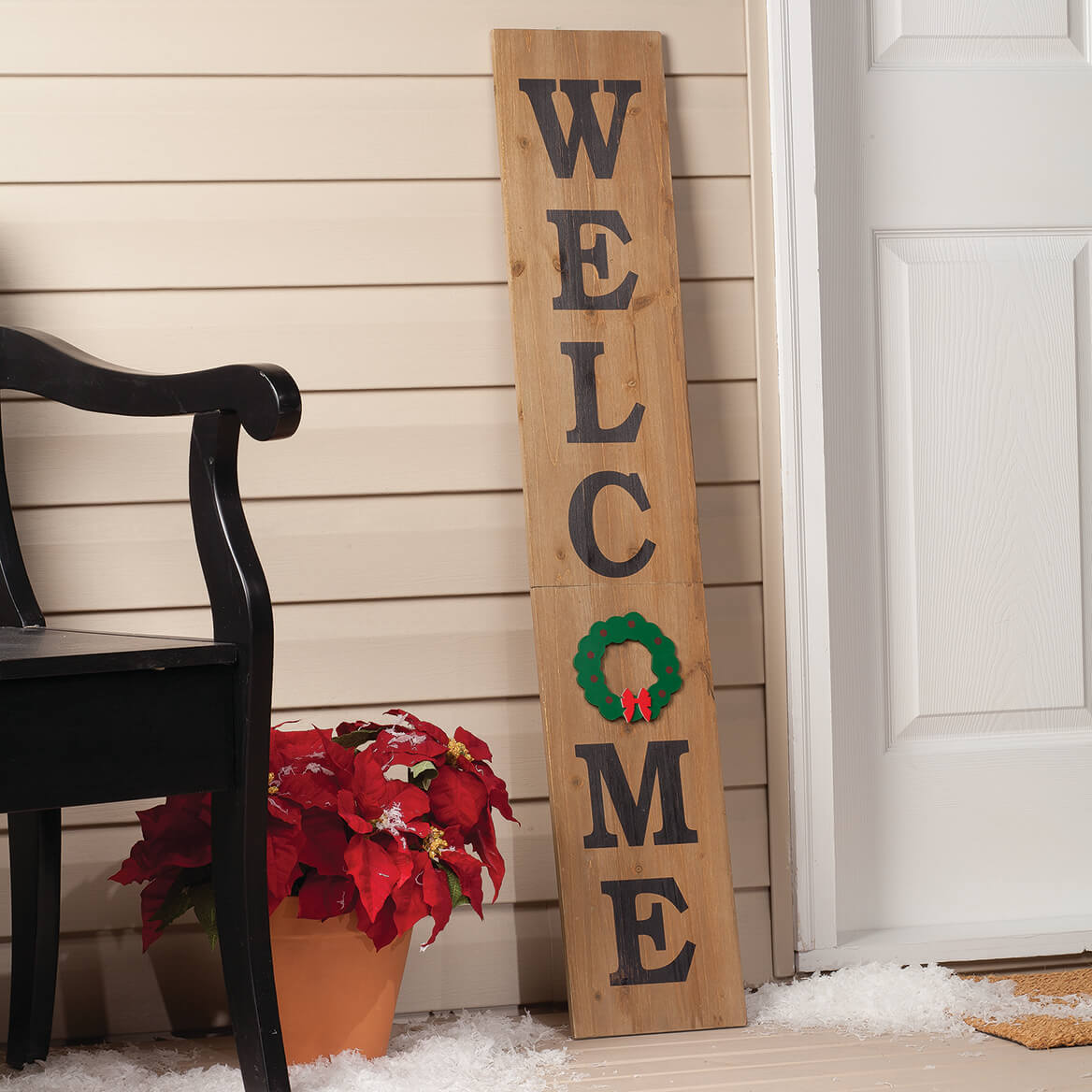 Folding Wood Welcome Sign with Magnetic Holiday Shapes-367592
