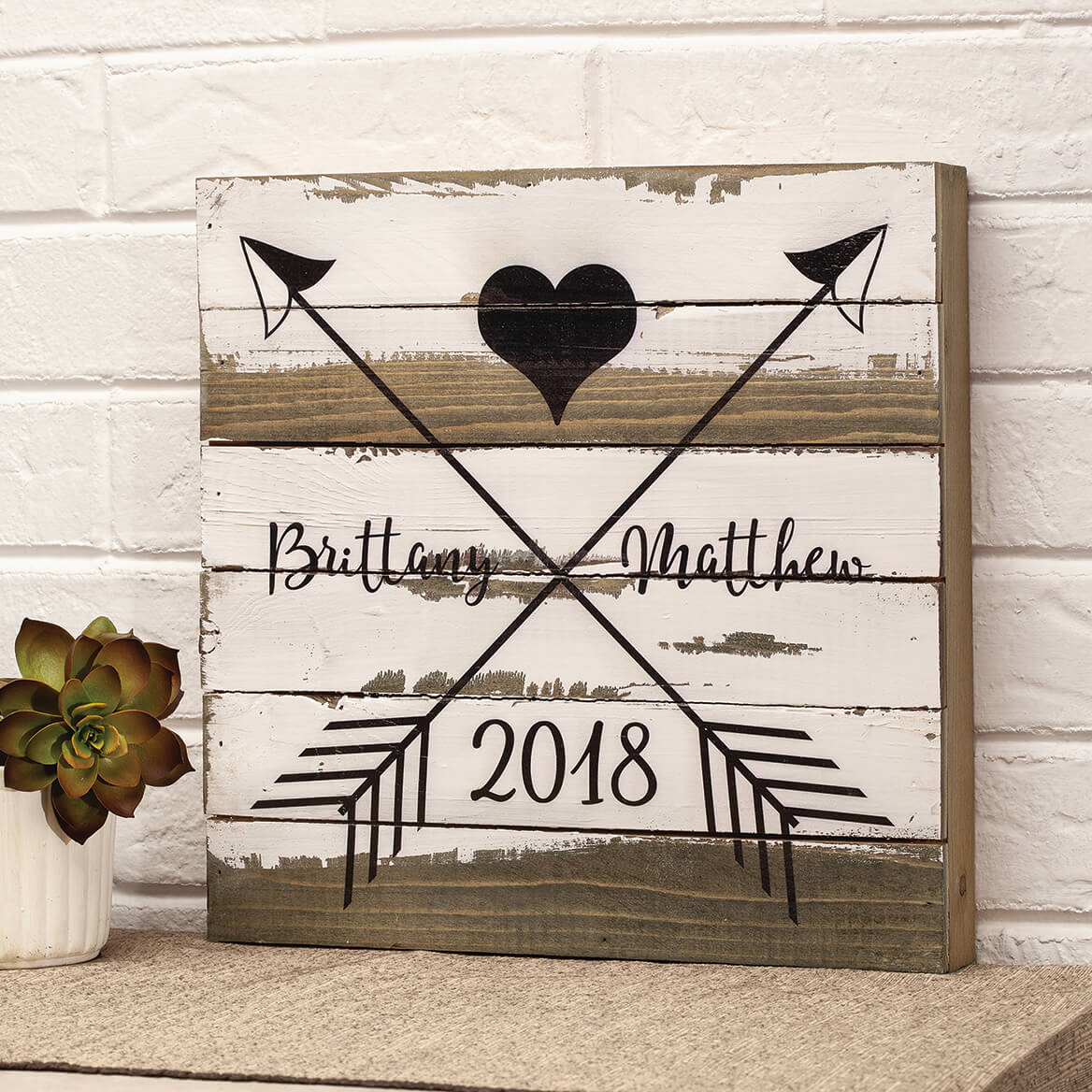 Personalized Heart and Arrows Reclaimed Wood Sign by Sweet B-367662
