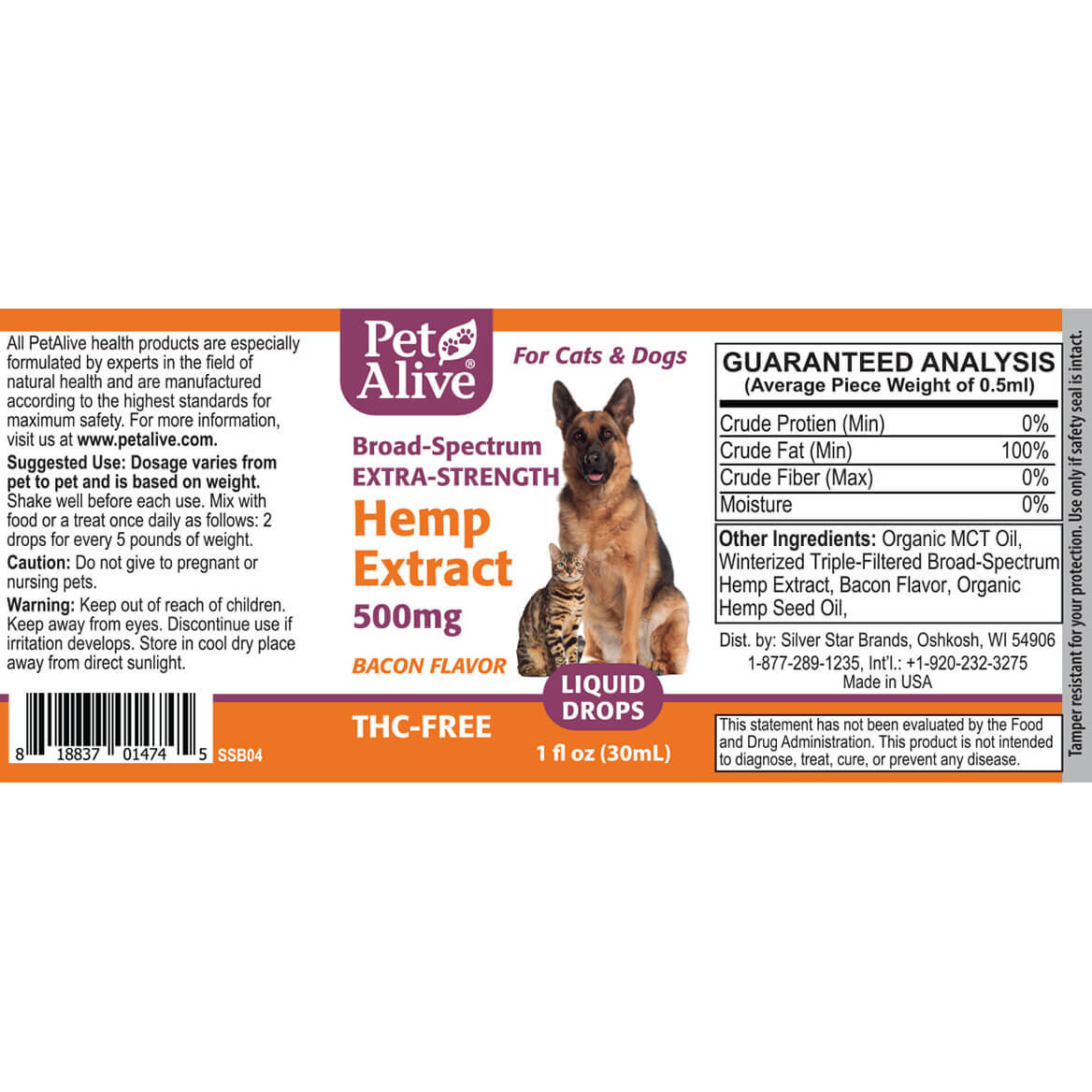 PetAlive® Extra-Strength Hemp Extract 500 mg-367955