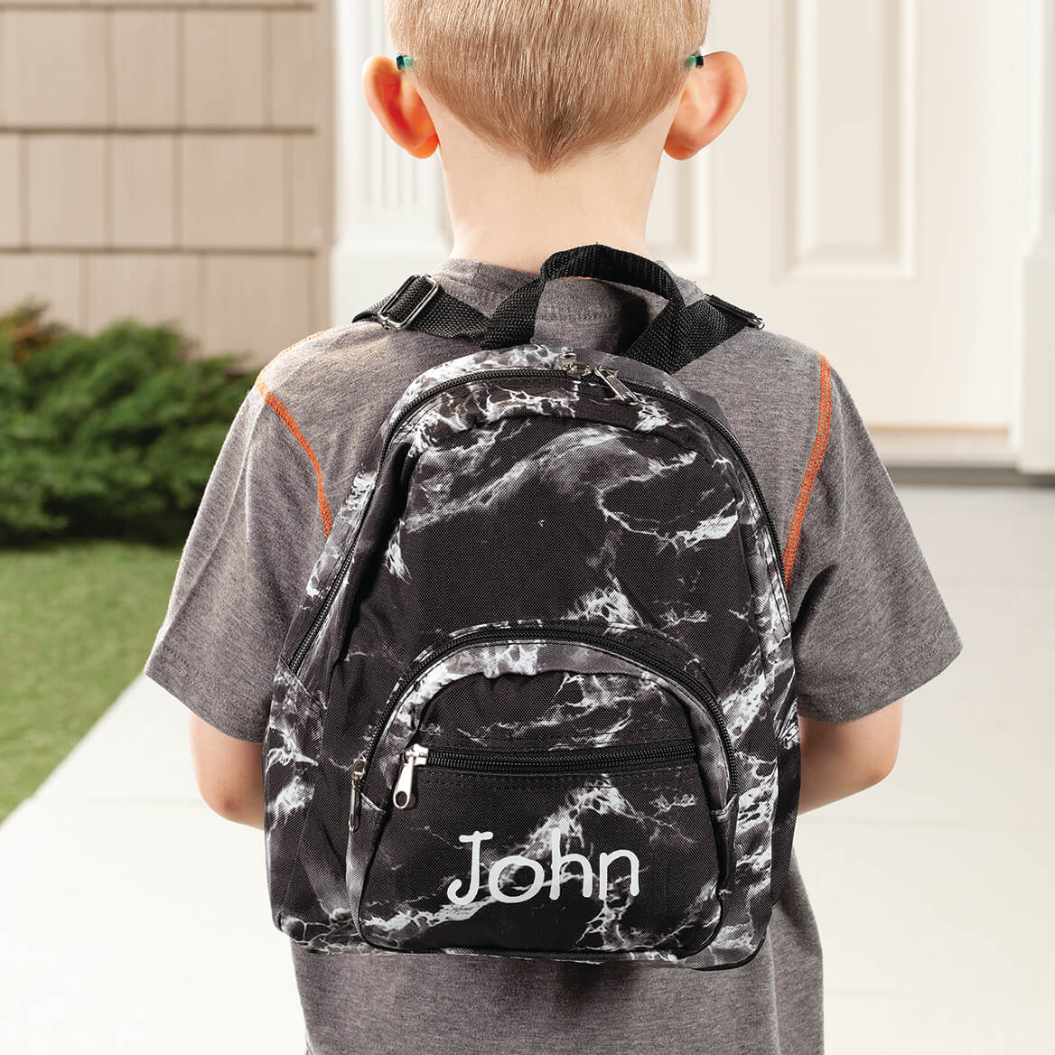 Personalized Mini Black Marble Backpack-368049