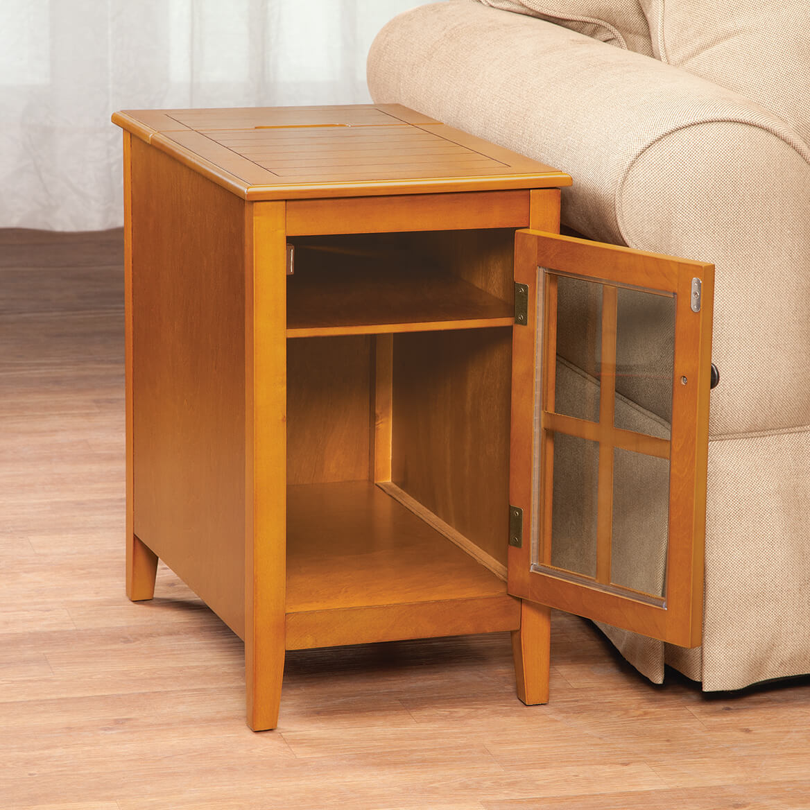 Glass Door Table with Hidden Charging Station by OakRidge™-368124