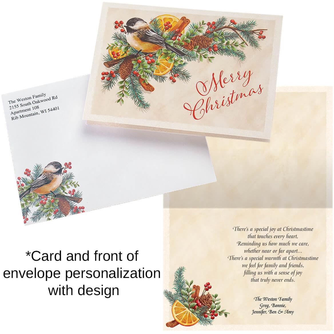 Personalized Chickadee Potpourri Christmas Card Set of 20-368215