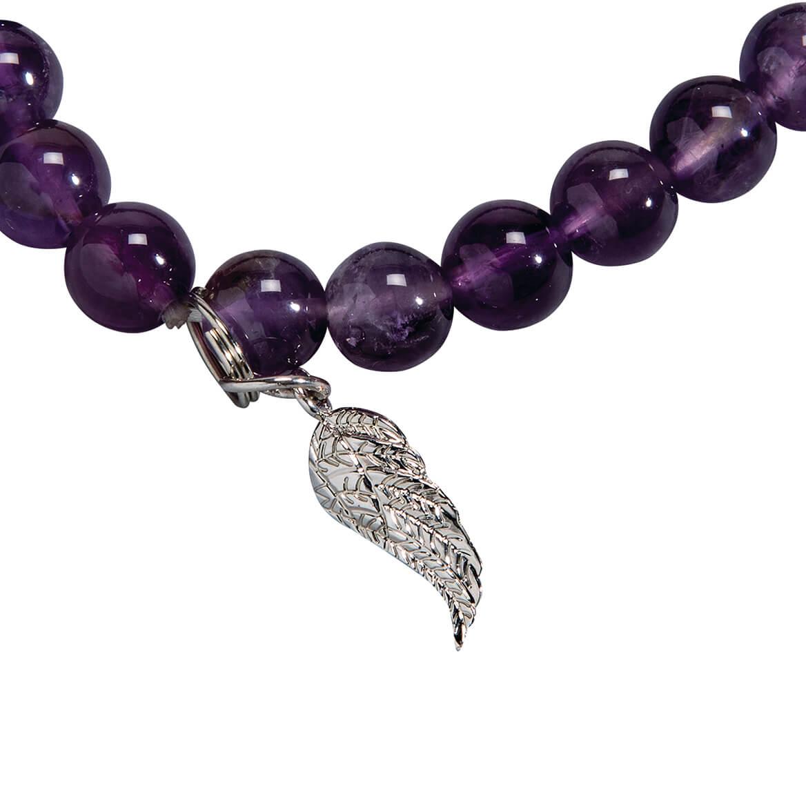Amethyst and Angel Wing Stretch Bracelet-368332
