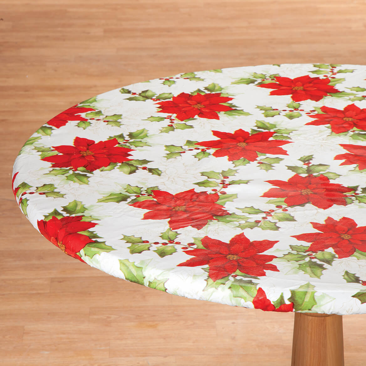Poinsettia Elasticized Vinyl Tablecover by Chef's Pride-368337