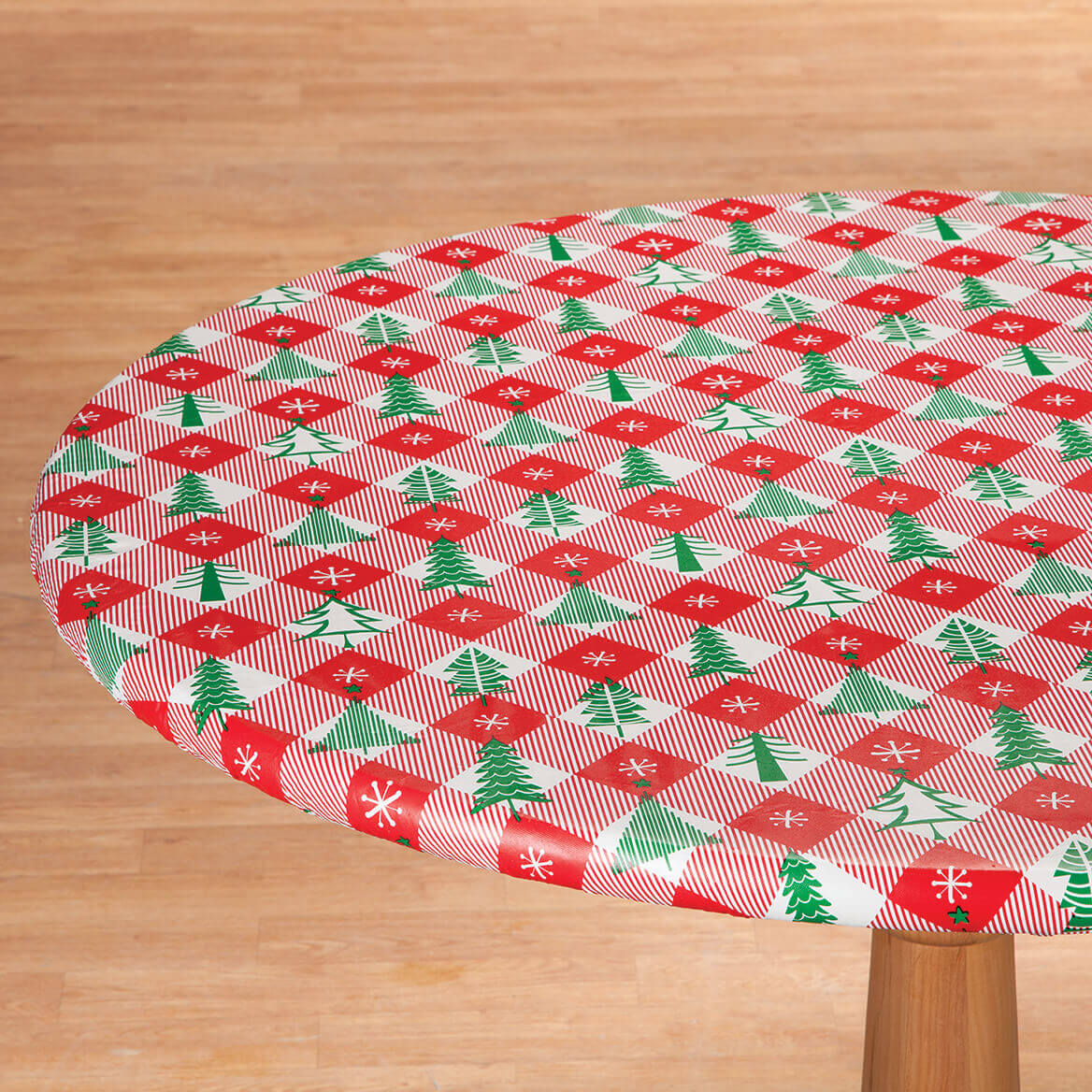 Vintage Holiday Tree Elasticized Vinyl Tablecover-368354