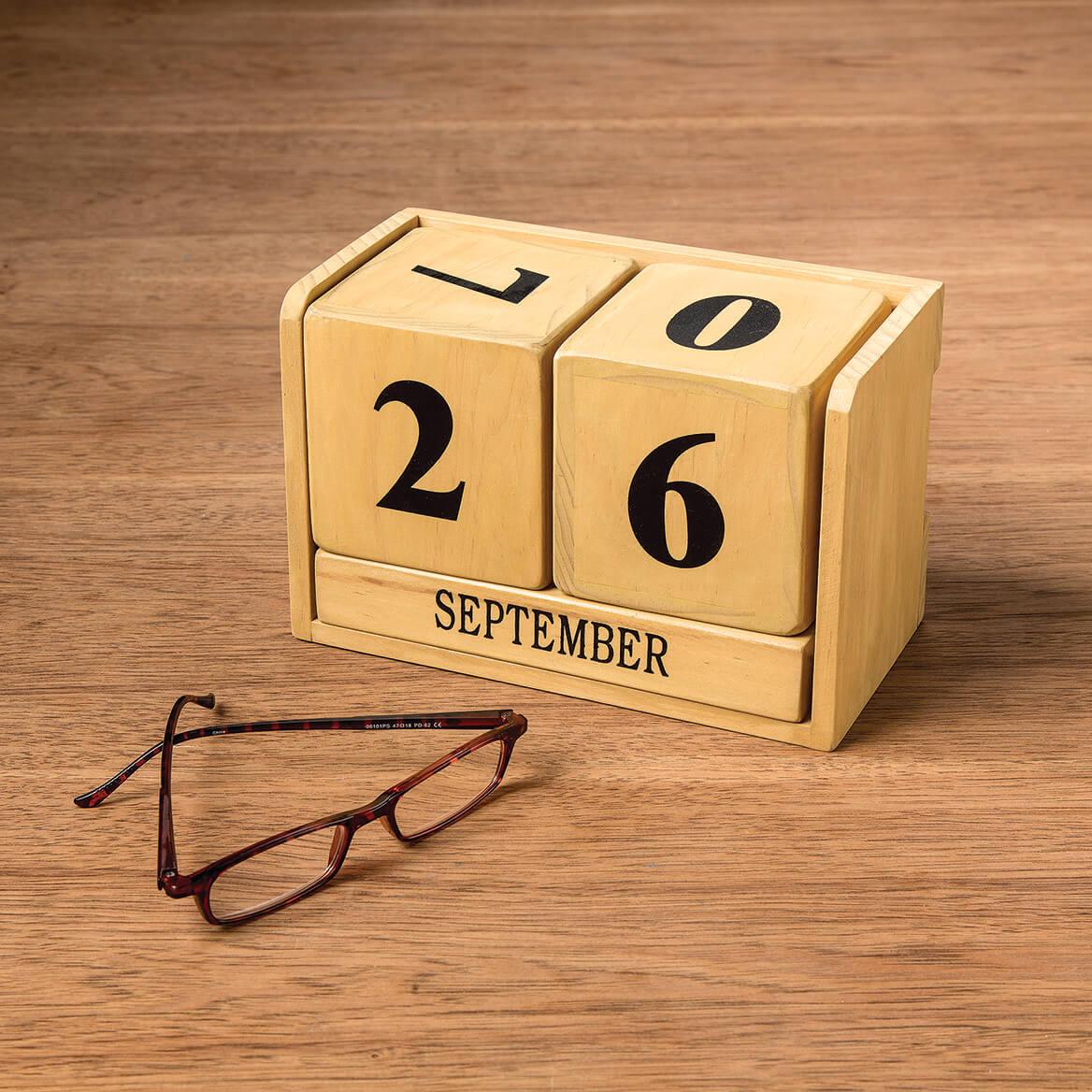 Wooden Perpetual Desktop Calendar-368366
