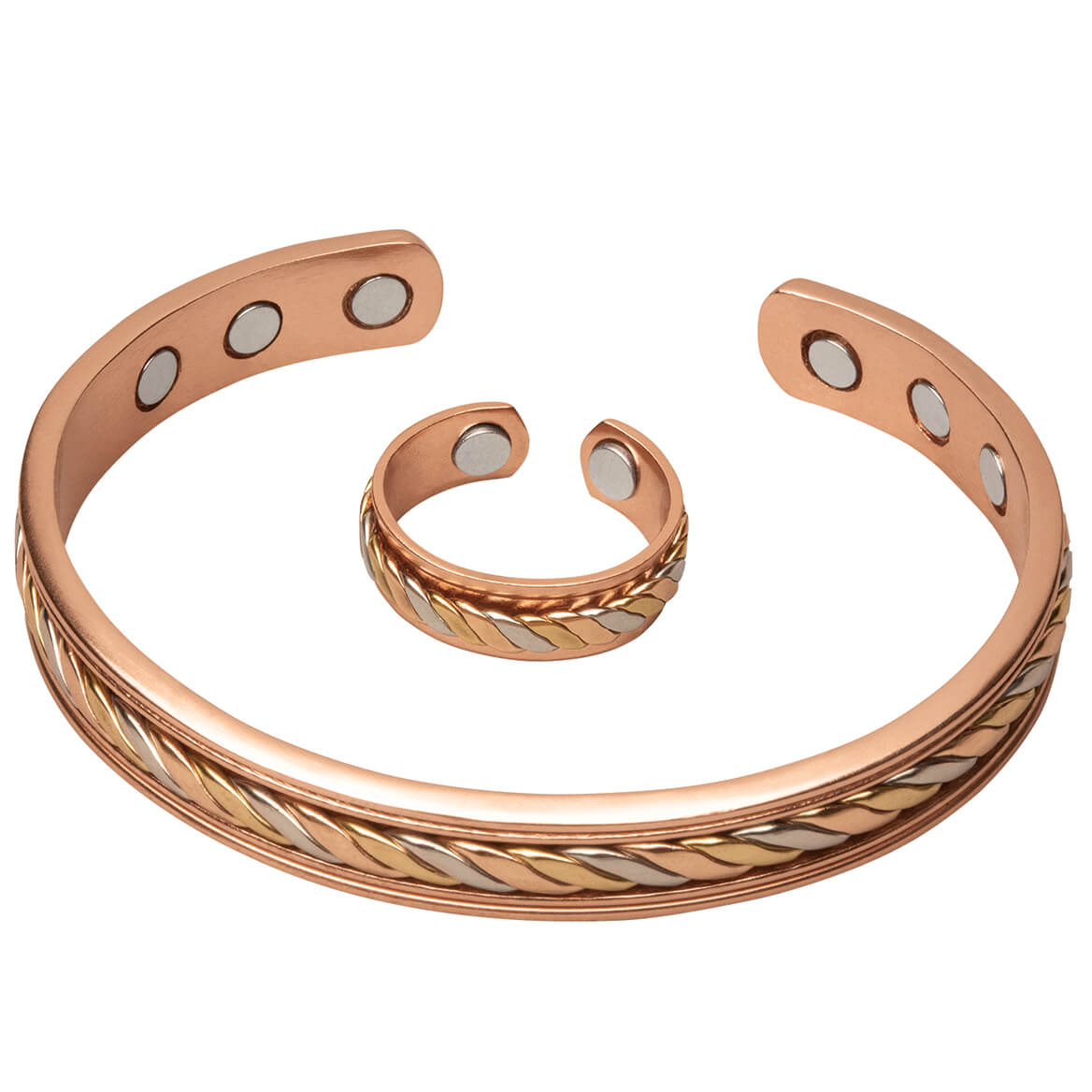 Copper Tritone Magnetic Cuff and Ring Set-368393