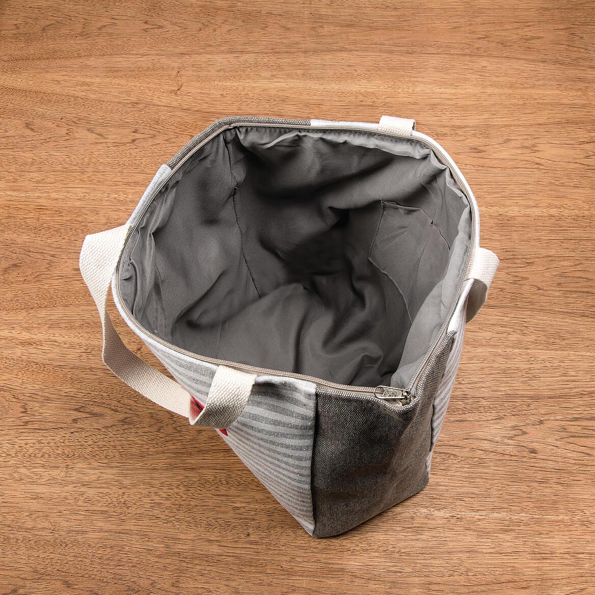 Gray Stripe Canvas Tote-368407
