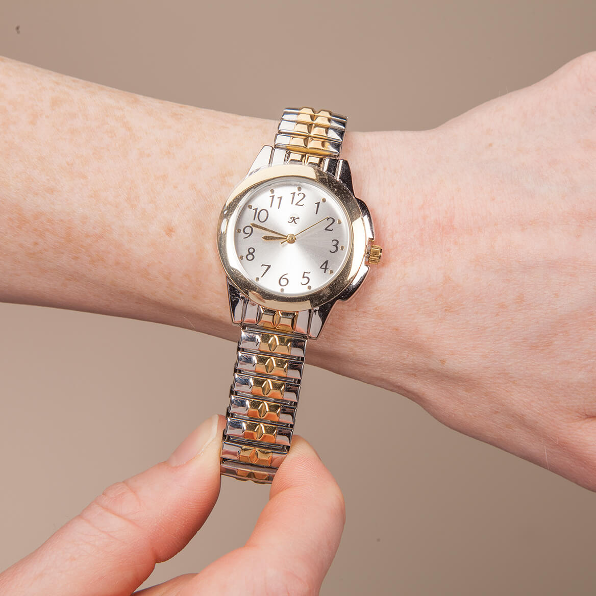 Two-Tone Watch with Stretch Band-368470
