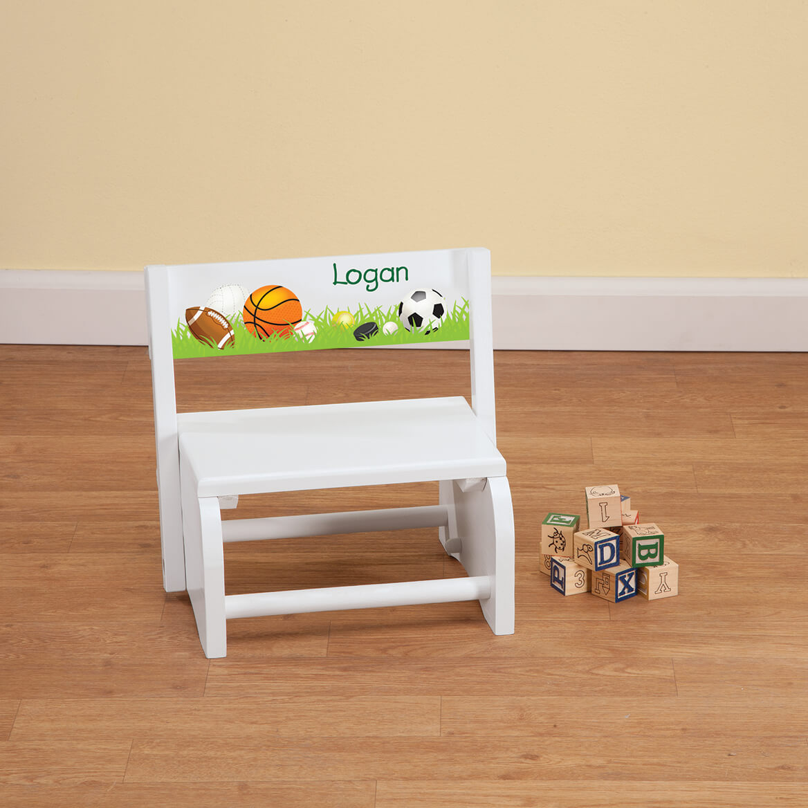 Personalized Children's White Sports Step Stool-368494