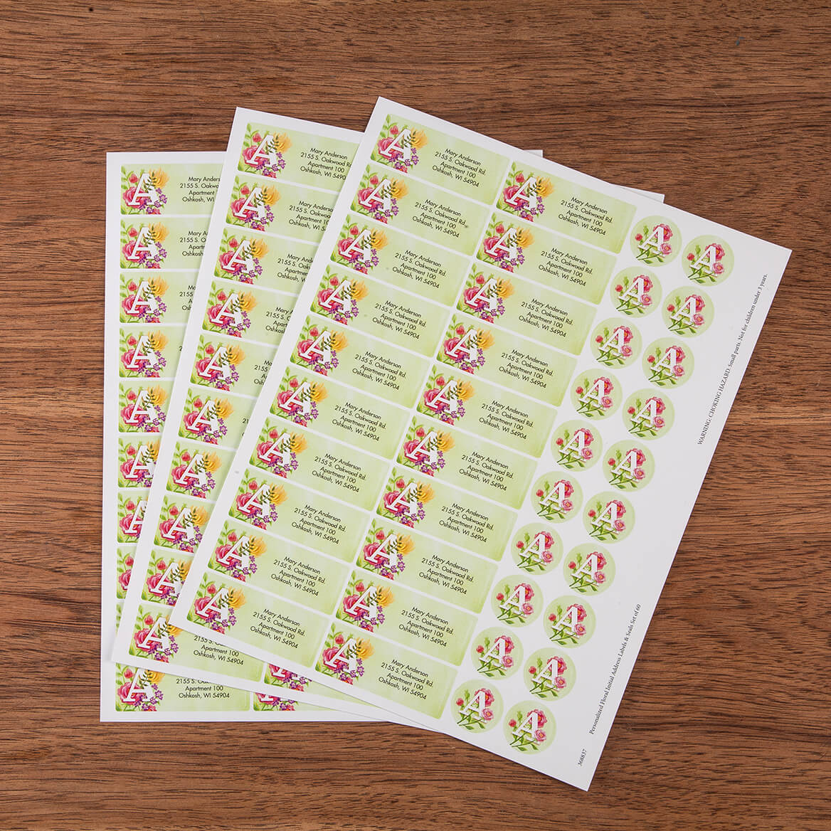 Personalized Floral Initial Address Labels & Envelope Seals Set of 60-368837