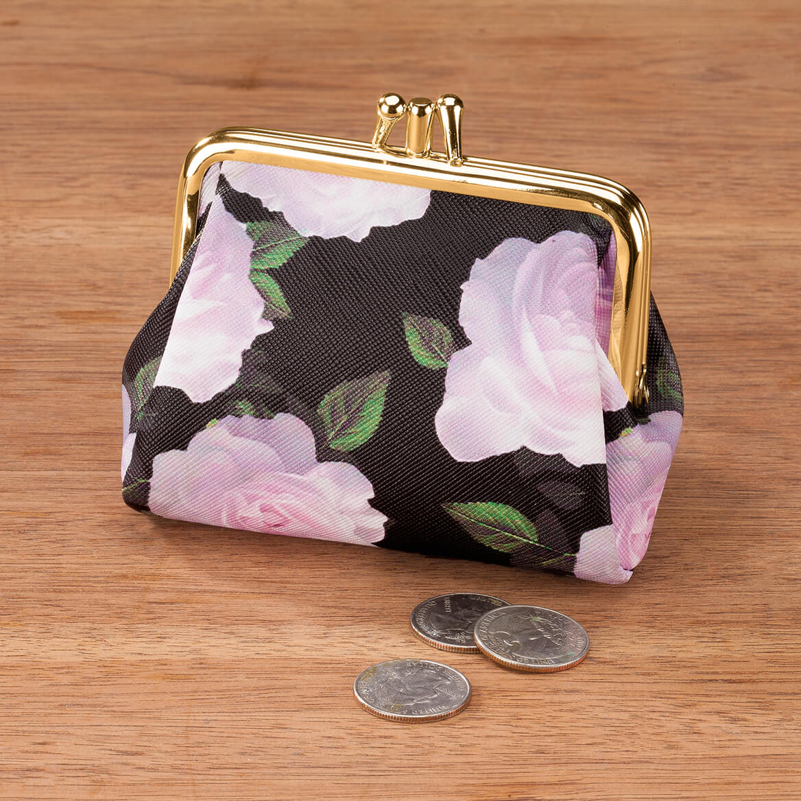 Buxton® RFID Black & Pink Rose Triple Frame Coin Purse-368889