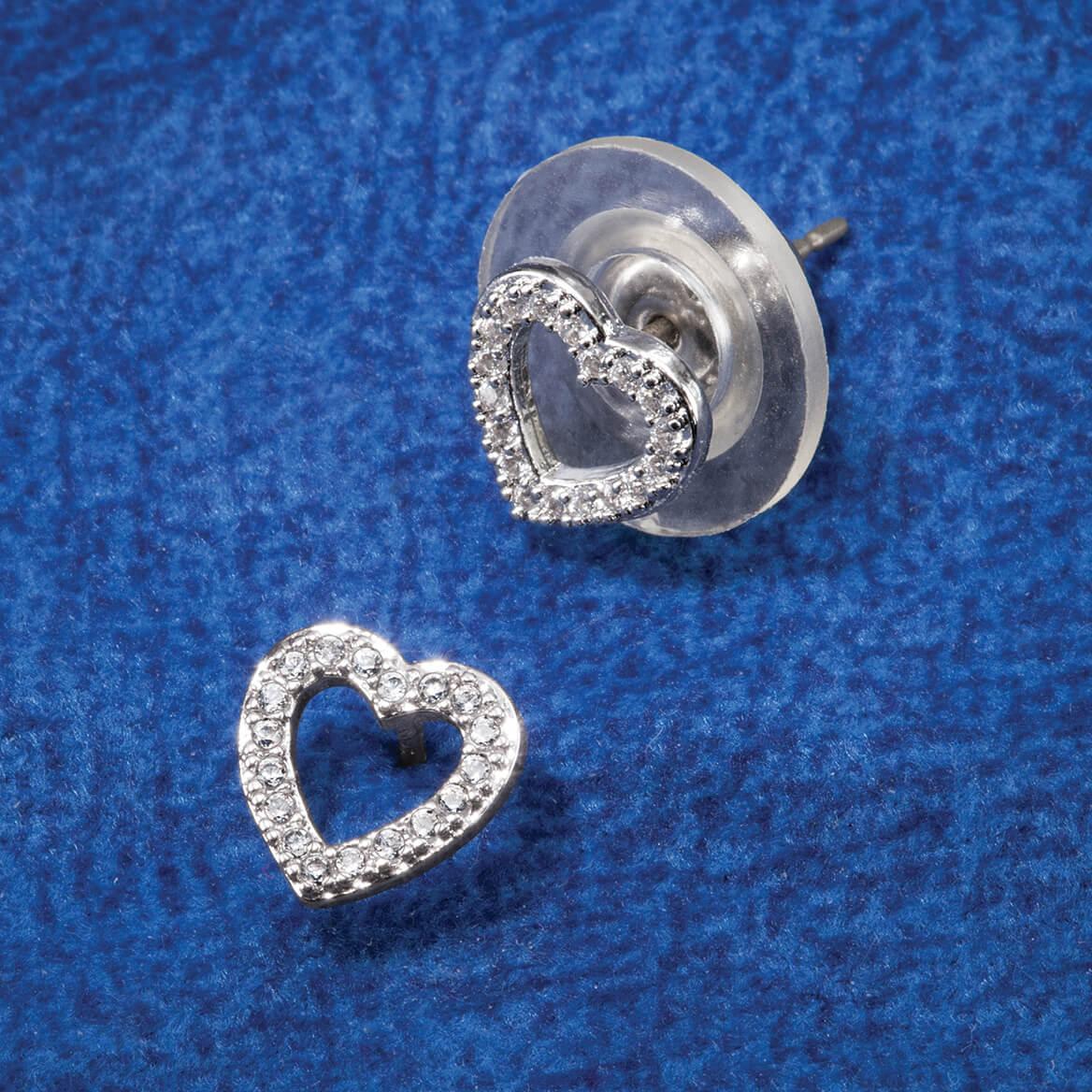 CZ Open Heart Post Earrings-368892