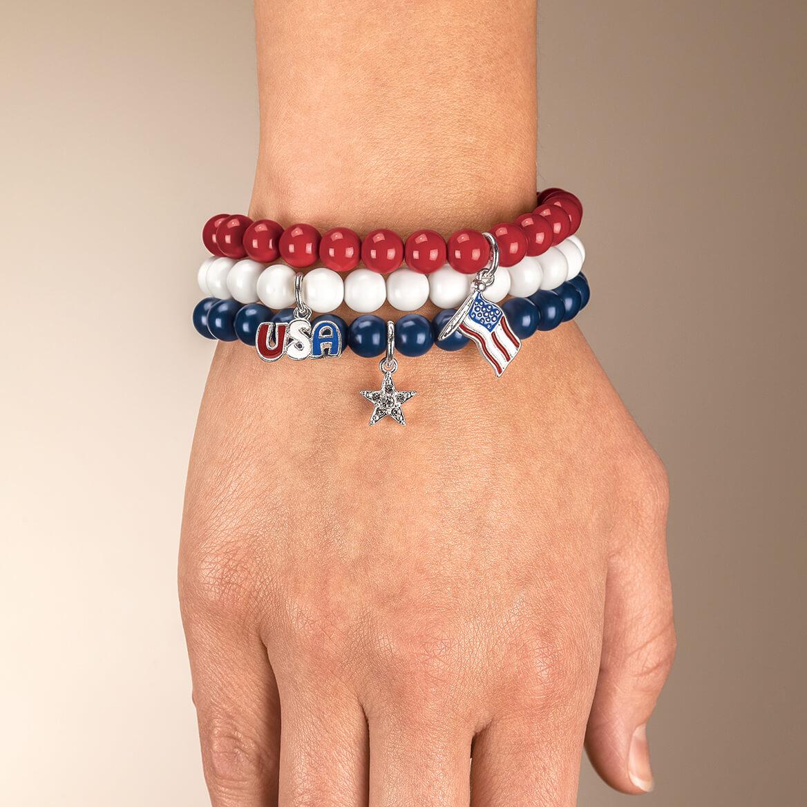 Patriotic Stretch Bracelets Set of 3-368896