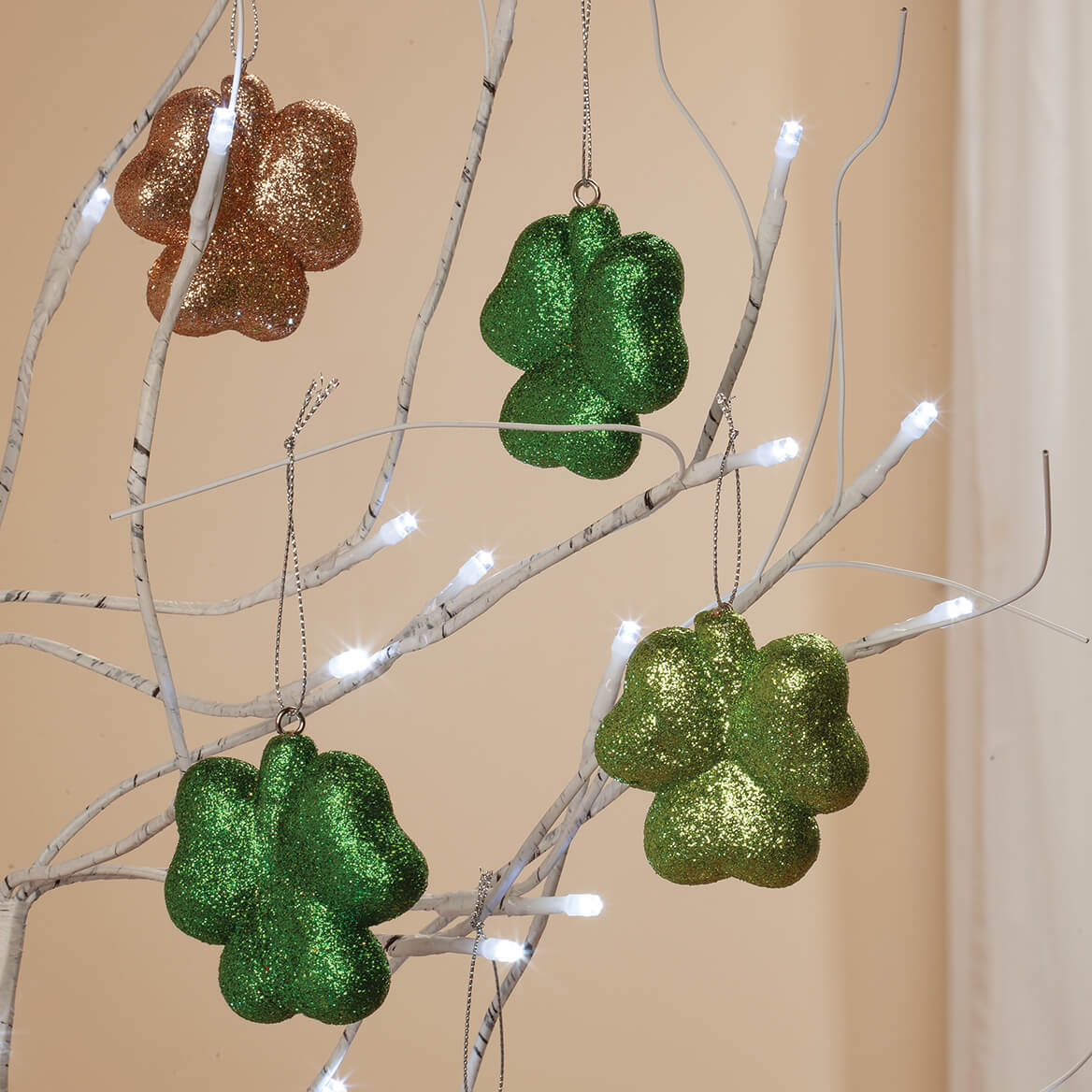 6' Birch Tree with 18 Shamrock Ornaments-369048