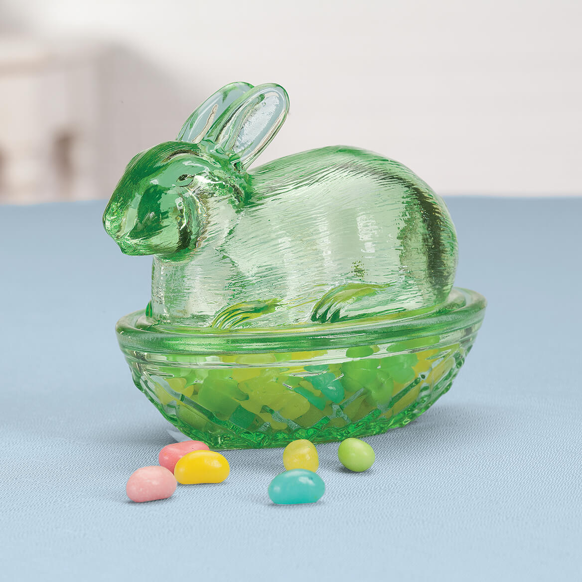 Green and Pink Glass Bunny Candy Dish Set-369172