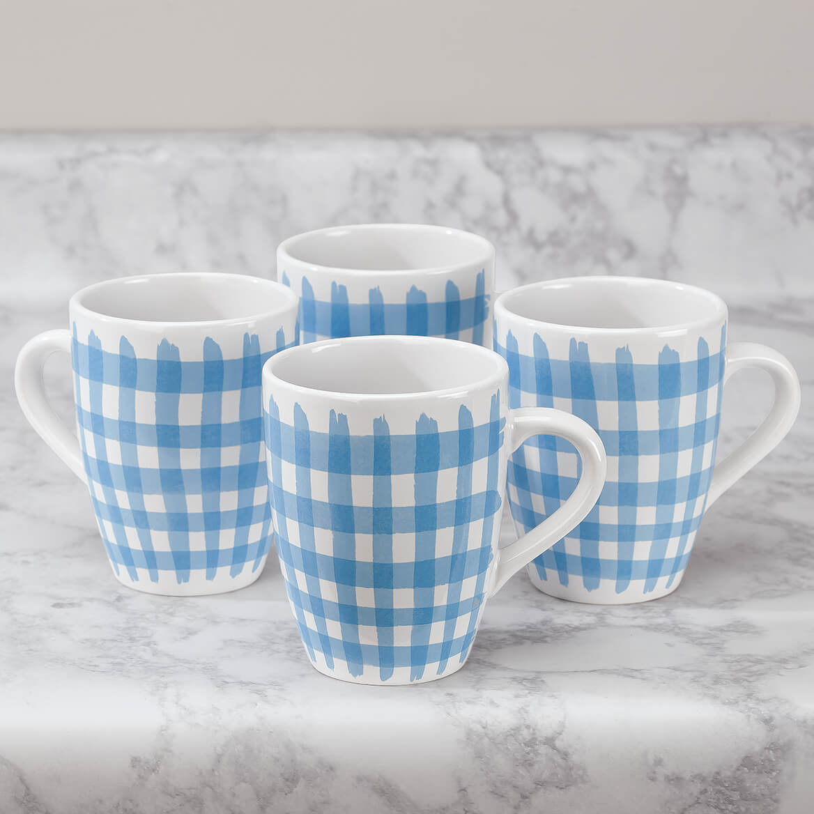 Blue Shirt Mugs by William Roberts, Set of 4-369198