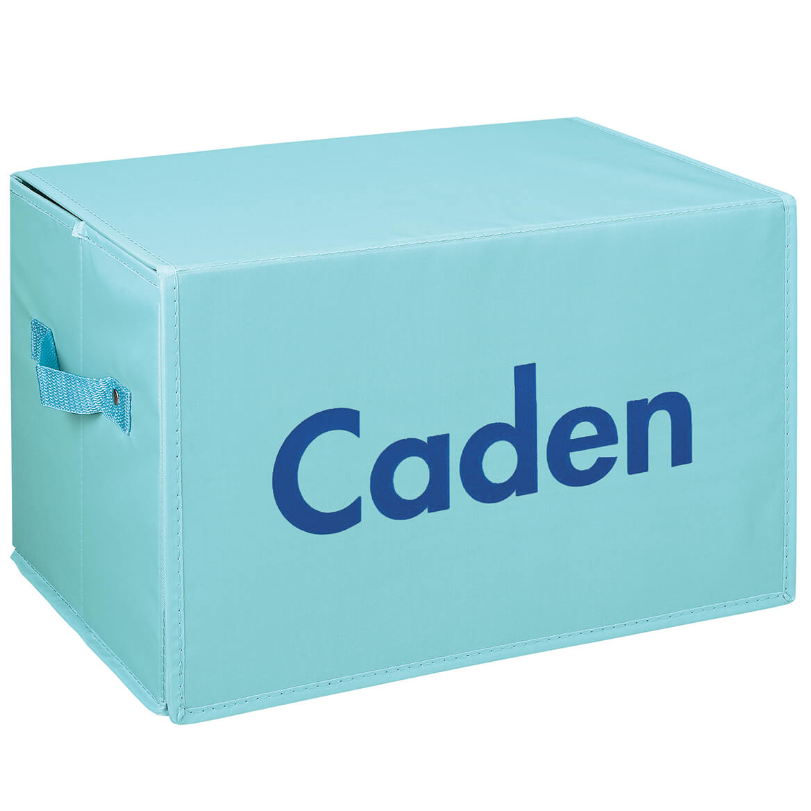 Personalized Foldover Toy Box with Play Mat, Blue Garage-369229