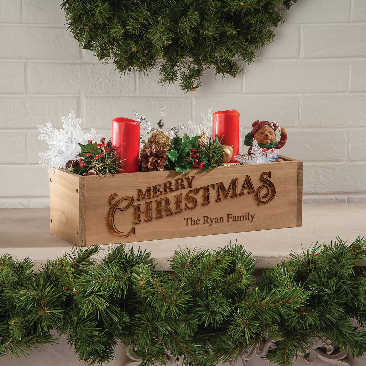 Personalized Wooden Planter Box, Merry Christmas-369255