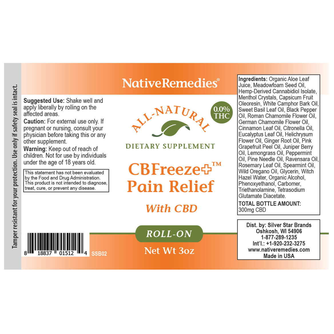 NativeRemedies® CBFreeze+ Pain Relief Roll-on-369289
