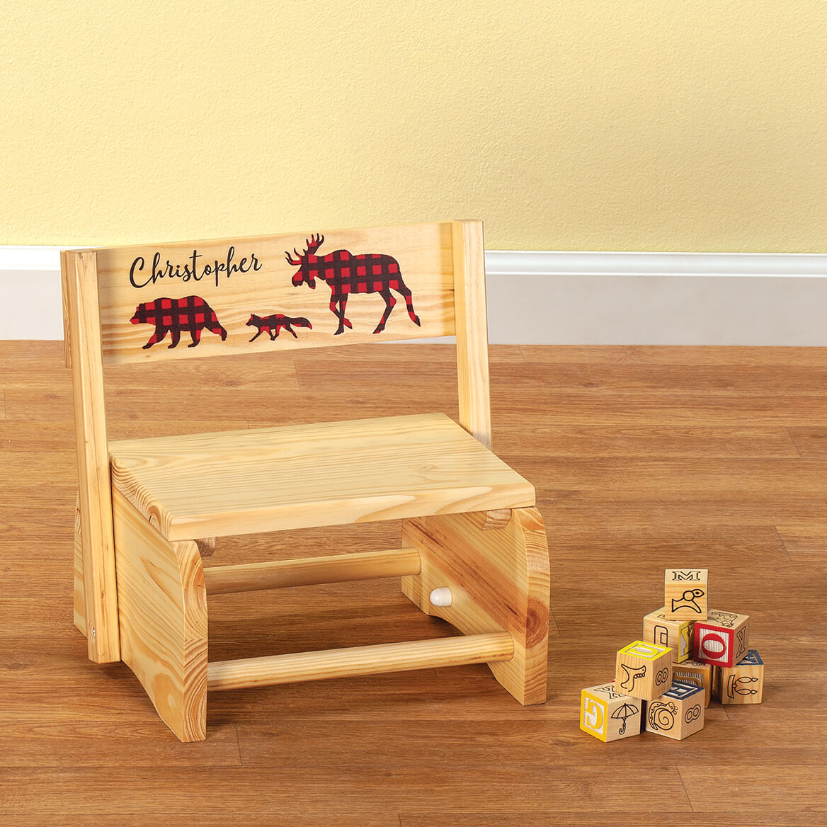Personalized Children's Natural 2-in-1 Buffalo Plaid Stool-369612