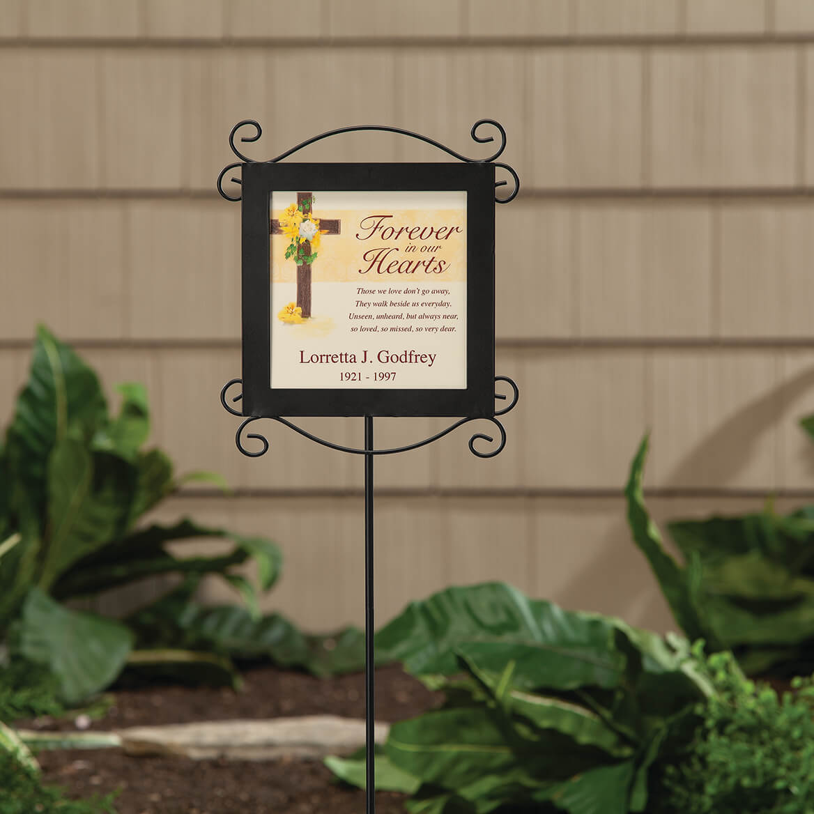 Personalized Forever in Our Hearts Memorial Stake and Plaque-369628