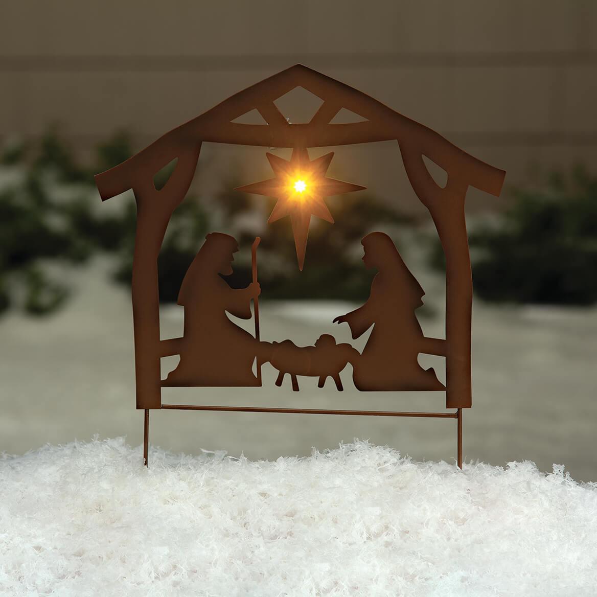 Metal Solar Nativity Scene Yard Stake by Fox River™ Creation-370324